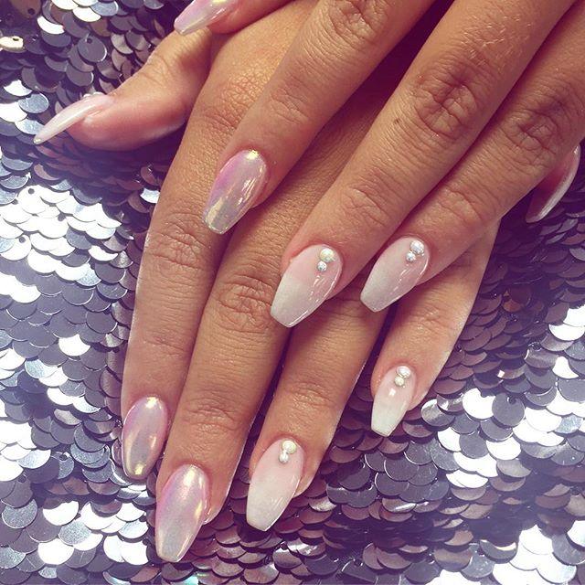 pink and pearls nails